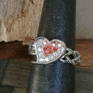 Jewelry - Garnet & White Topaz Heart Ring